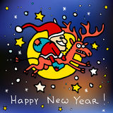 Merry christmas and happy new 2016 year cartoon postcard with Santa Claus on Rudolph the reindeer Stock Photography