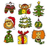 Merry Christmas and Happy New 2016 Year cartoon vecot icons with monkeys and presents Royalty Free Stock Photography
