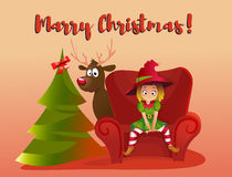 Merry Christmas and Happy New Year. Cartoon vector illustration. Red sofa. Happy elf helper character. girl sitting on the sofa. christmas tree. funny reindeer stock illustration