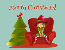 Merry Christmas and Happy New Year. Cartoon vector illustration. Red sofa. Happy elf helper character. girl sitting on the sofa. christmas tree royalty free illustration