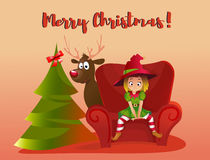 Merry Christmas and Happy New Year. Cartoon vector illustration. Red sofa. Happy elf helper character. girl sitting on the sofa. christmas tree. reindeer stock illustration