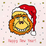 Merry Christmas and Happy New 2016 Year cartoon vector postcard with orangutan monkey in Christmas hat. Stock Photos