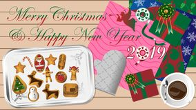 Merry Christmas and Happy New Year 2019 royalty free illustration
