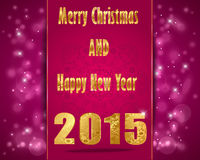 Merry Christmas, Happy New Year 2015, celebration concept card Stock Photo