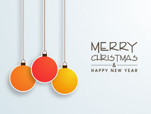Merry Christmas and Happy New Year celebration with hanging ball Stock Photo