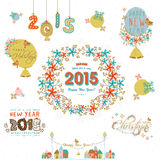 Merry Christmas and Happy New Year celebrations calligraphy and Royalty Free Stock Photos