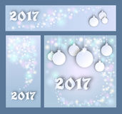 Merry Christmas and Happy New 2017 Year celebrations collection. For flyer,banner, postcard, invitation with text.White Inscription 2017 on grey background with Royalty Free Stock Photos