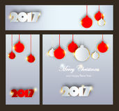 Merry Christmas and Happy New 2017 Year celebrations collection. For flyer,banner, postcard, invitation with text.White Inscription 2017 on grey background with Royalty Free Stock Photography
