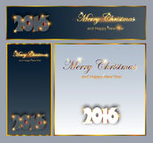 Merry Christmas and Happy New 2016 Year celebrations collection. For flyer,banner, postcard,poster or invitation with text.Gold Inscription 2016 on black Royalty Free Stock Photos