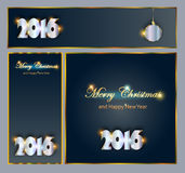 Merry Christmas and Happy New 2016 Year celebrations collection. For flyer,banner, postcard,poster or invitation with text.Gold Inscription 2016 on black Stock Images