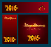 Merry Christmas and Happy New 2016 Year celebrations collection. For flyer,banner, postcard,poster or invitation with text.Gold Inscription 2016 on red and Stock Photo