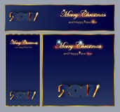 Merry Christmas and Happy New 2017 Year celebrations collection. For flyer,banner, postcard,poster or invitation with text.Gold Inscription 2017 on dark blue Royalty Free Stock Images