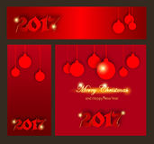 Merry Christmas and Happy New 2017 Year celebrations collection. For flyer,banner, postcard,poster or invitation with text.Gold Inscription on red background Stock Photos