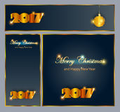 Merry Christmas and Happy New 2017 Year celebrations collection. For flyer,banner, postcard,poster or invitation with text.Gold Inscription 2017 on black Stock Image