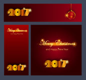 Merry Christmas and Happy New 2017 Year celebrations collection. For flyer,banner, postcard,poster or invitation with text. Gold Inscription 2017 on dark-red Stock Image
