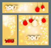 Merry Christmas and Happy New 2017 Year celebrations collection. For flyer,banner,poster or invitation with text.Gold Inscription 2017 on yellow background with Royalty Free Stock Photo
