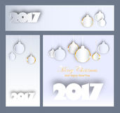 Merry Christmas and Happy New 2017 Year celebrations collection. For flyer,banner,poster or invitation with text.Gold Inscription on yellow background with Royalty Free Stock Photo