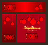 Merry Christmas and Happy New Year celebrations collection. For flyer, banner, poster or invitation with text. Happy New 2016 Year. Paper Origami card on red Stock Photos