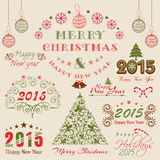 Merry Christmas and Happy New Year celebrations concept. Beautiful typographic, ornaments and calligraphic set for Happy New Year 2015 and Merry Christmas Royalty Free Stock Image