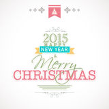 Merry Christmas and Happy New Year 2015 celebrations concept. Happy New Year 2015 and Merry Christmas celebration poster, banner or flyer design on shiny grey stock illustration