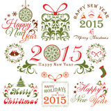 Merry Christmas and Happy New Year celebrations concept. Floral decorated ornament set with beautiful typography for Happy New Year 2015 and Merry Christmas Stock Photos