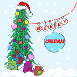 Merry Christmas and Happy New Year. Celebratory accessories - Christmas tree, balls and gifts. Vector illustration drawn by hand for decoration, cards, banners Stock Image