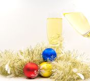 Merry Christmas and Happy new year with champagne cheer. Soft and select focus Royalty Free Stock Image