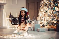 Girl on New Year`s Eve royalty free stock photos
