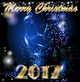 Merry Christmas and Happy New Year. Chinese calendar symbol of 2017 year. Merry Christmas and Happy New Year. Dark blue background Royalty Free Stock Images