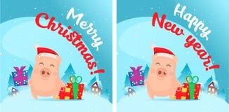 Pig in snow scene. Post card stock illustration