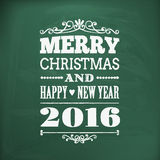 Merry christmas and happy new year 2016chlakboard Stock Photography
