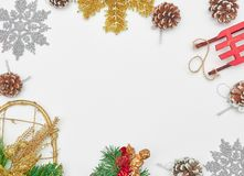 Merry Christmas and Happy New Year. Christmas background with new-year decorations. New Year card. empty space for text. view from stock photos