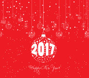 Merry christmas and happy new year 2017 with christmas balls.  Royalty Free Stock Photography