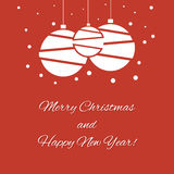 Merry Christmas and Happy new Year 2015 with christmas balls. Christmas balls with snow. Merry Christmas and Happy New Year Royalty Free Stock Photo