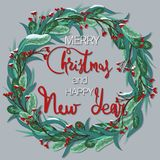 Merry Christmas and Happy New Year. Festive wreath with snow-covered berries. Merry Christmas and Happy New Year. Christmas Festive wreath with snow-covered vector illustration
