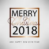 Merry Christmas and Happy New Year 2018. Christmas flat designed  background. With gold color. Calligraphic text Royalty Free Stock Photo