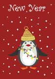 Christmas greeting card with a cute penguin vector Royalty Free Stock Image