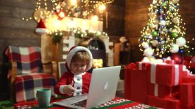 Merry Christmas and Happy new year. Christmas online shopping. Discount in online shop, Internet Christmas store. Merry Christmas and Happy new year. Christmas stock video footage