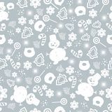 Merry Christmas and Happy New Year. Christmas seamless pattern with new year tree, snowflakes, sweets, snowman. Winter holiday backgrounds for design. Vector royalty free illustration