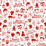 Merry Christmas and Happy New Year 2017. Christmas season hand drawn seamless pattern. Vector illustration. Doodle style Royalty Free Stock Photo