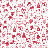 Merry Christmas and Happy New Year 2017. Christmas season hand drawn seamless pattern. Vector illustration. Doodle style. Decorations. Winter holiday Stock Photo