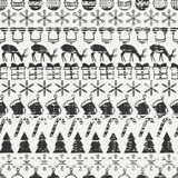 Merry Christmas and Happy New Year 2017. Christmas season hand drawn seamless pattern. Vector illustration. Doodle style Royalty Free Stock Images