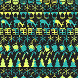 Merry Christmas and Happy New Year 2017. Christmas season hand drawn seamless pattern. Vector illustration. Doodle style Stock Photos