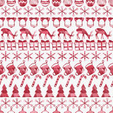 Merry Christmas and Happy New Year 2017. Christmas season hand drawn seamless pattern. Vector illustration. Doodle style Stock Photo