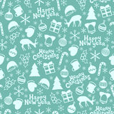 Merry Christmas and Happy New Year 2017. Christmas season hand drawn seamless pattern. Vector illustration. Doodle style. Decorations. Winter holiday stock illustration