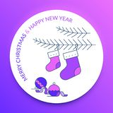 Merry Christmas and Happy New Year. Christmas stocking. And ornaments in a purple and blue background stock illustration
