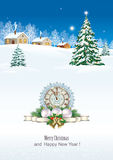 Merry Christmas and Happy New Year with Christmas tree and clock.  Merry Christmas and a Happy New Year with Christmas tree and clock on the background of a Stock Photo