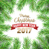 Merry Christmas and Happy New Year Christmas Tree Fir Branches Winter Holidays Greeting Card Stock Photo