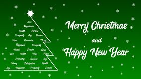 Merry Christmas and Happy New Year - Christmas tree full of wishes. Greetings card Merry Christmas and Happy New Year. Text on a green background with snowflakes royalty free illustration
