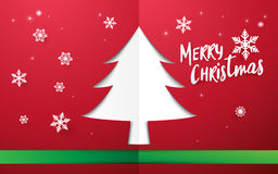 Merry Christmas and Happy new year. Christmas tree shape space. With snowflakes on red background stock illustration